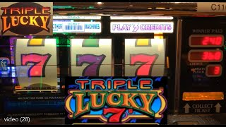 CLASSIC OLD SCHOOL CASINO SLOTS: TRIPLE LUCKY 7'S SLOT PLAY! TRIPLE LUCKY SLOT MACHINE! NICE WINS!