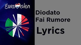 Diodato - Fai Rumore (Lyrics with English translation) Italy Eurovision 2020