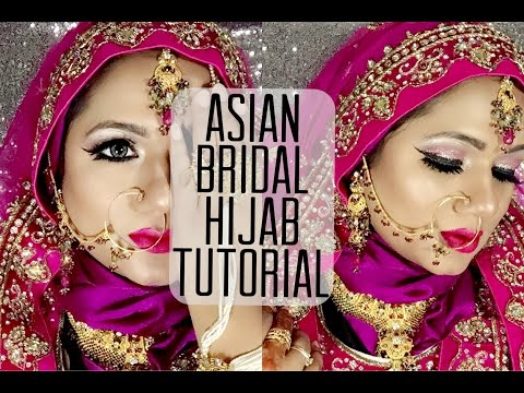 ASIAN BRIDAL HIJAB TUTORIAL | HIJAB WITH LEHENGA