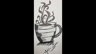 Doodle Coffee  Cup Art | Coffee Cup Doodle | How to Draw Doodle Coffee Cup