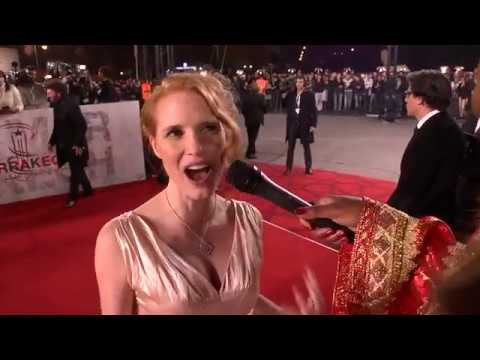 Jessica Chastain Speaks on the Marrakech Red Carpet With Chaz Ebert
