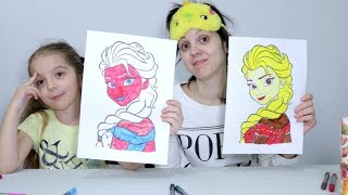 3 MARKER CHALLENGE (COLORING ELSA AND MINIONS, UNICORNS)