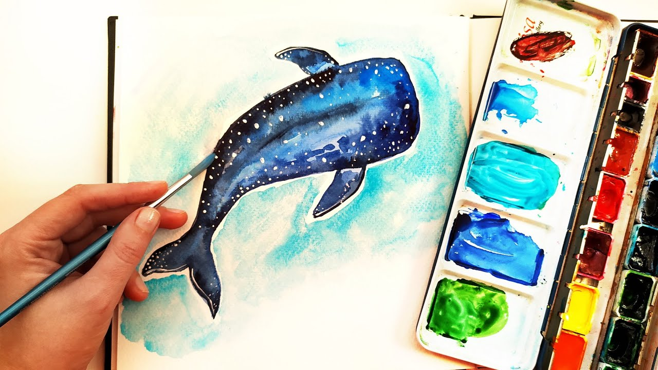 How To Paint Watercolor Shark Whale Easy Painting Ideas For Beginners Nautical Wall Art Youtube