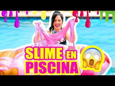 RETO SLIME EN LA PISCINA!!! y SORTEO iPHONE X! SLIME Con Ingrediente Secreto LOL SandraCiresArt