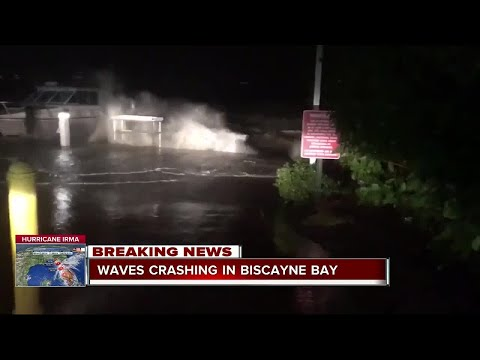 Winds and raining hitting Biscayne Bay