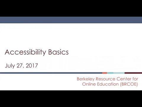 Accessibility Training #1: July 27, 2017