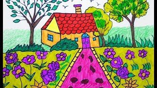 How to Draw scenery | coloring page | Drawing for beginners | Learning Colors for Toddlers