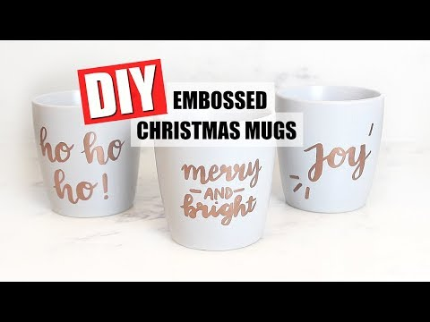 DIY EMBOSSED CHRISTMAS MUGS | 25 DIYs Of Christmas Day 6
