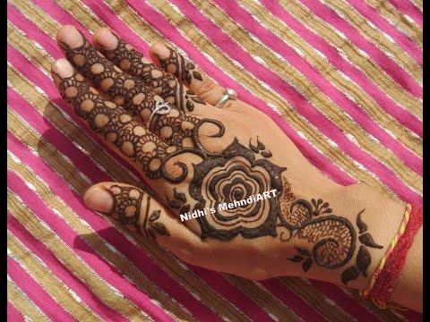 Mehndi Flower Valley : Stylish gulf style rose henna mehndi design tutorial for back hand