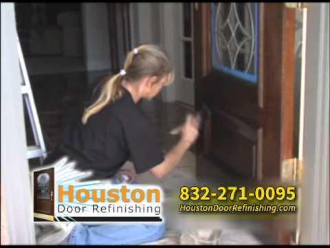 Houston Door Refinishing refinish wood front door & Houston Door Refinishing: refinish wood front door - YouTube pezcame.com