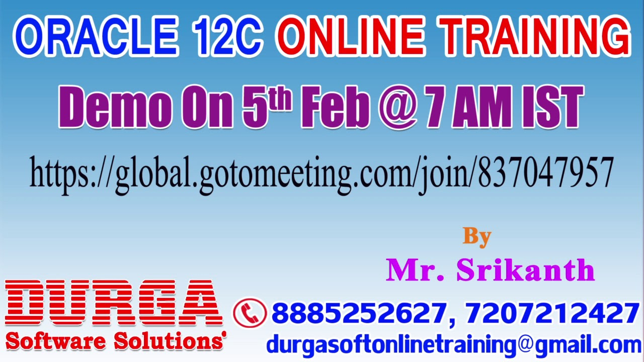 Oracle 12c online training by mr srikanth demo on 5th feb 7am oracle 12c online training by mr srikanth demo on 5th feb 7am ist 1betcityfo Gallery
