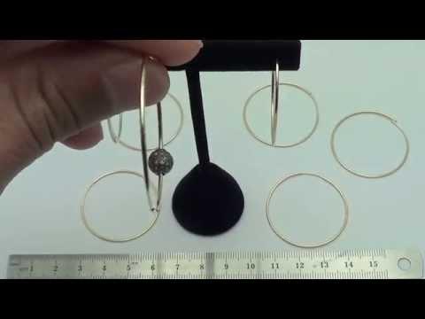 1X35mm 14K Earring Hollow Round Hoop - EGF1424