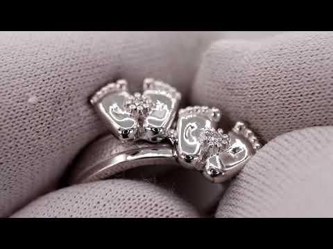 EliteGold - кольцо в белом золоте пара детских ножек с бриллиантами