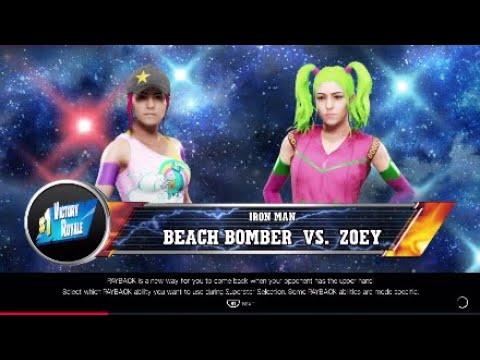 Fortnite Zoey Vs Beach Bomber   Iron Women Match WWE2K19