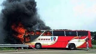 26 dead in Taiwan tourist Bus Fire Live Video Footage disturbing