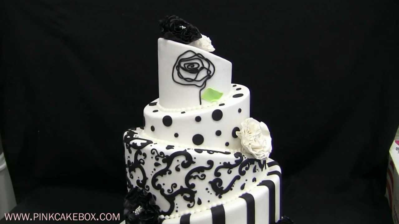 Black & White Topsy Turvy Wedding Cake - YouTube
