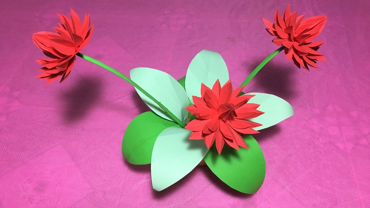 How to make origami lily flowerdiy origami flower lilywater lily how to make origami lily flowerdiy origami flower lilywater lily folding craft izmirmasajfo Gallery
