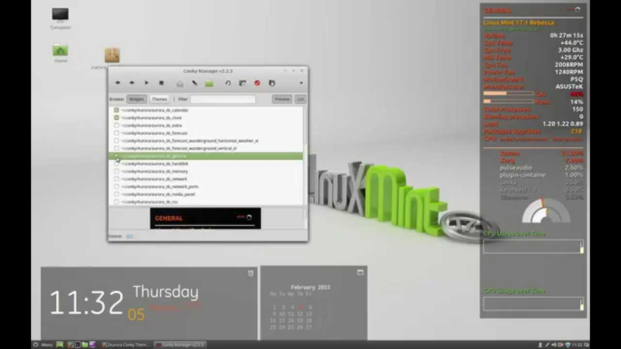 how to install conky and aurora theme on linux mint or ubuntu