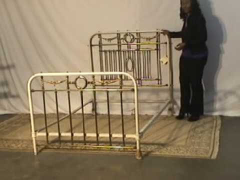 Iron & Brass Full Size Bed with Rails   Antique UR16   YouTube