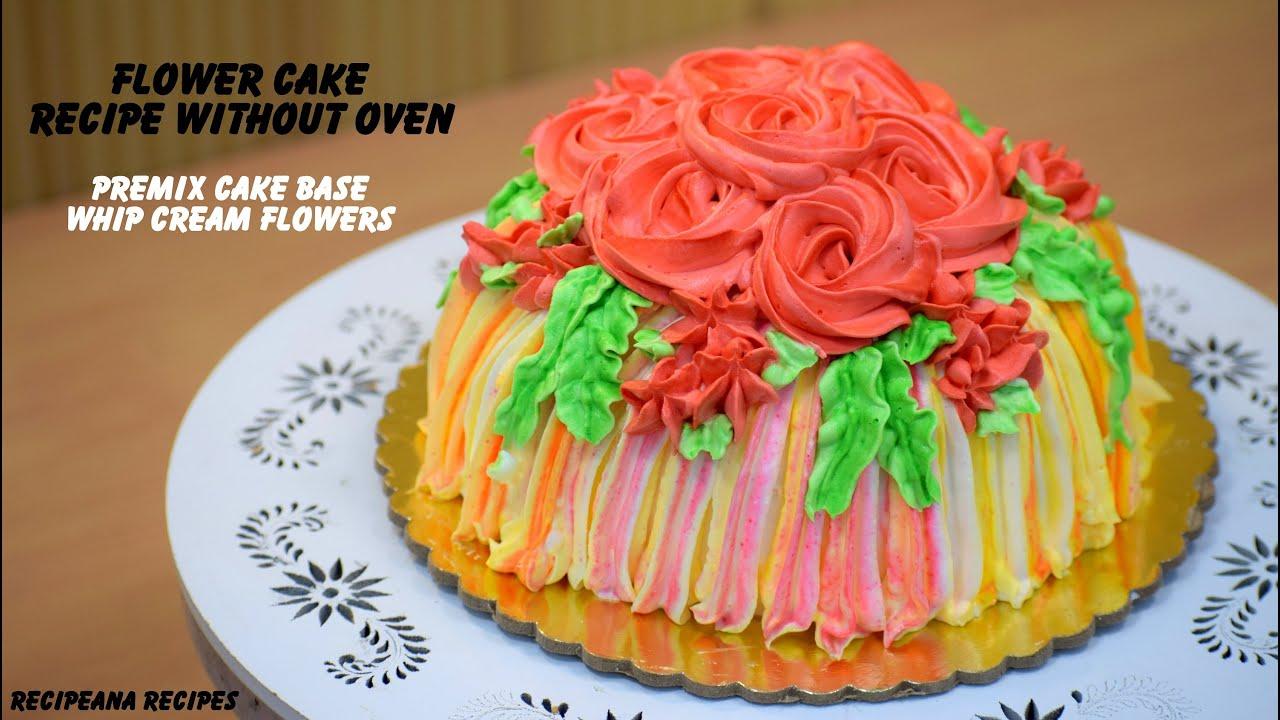 प्रेमिक्स से बनाये ये खूबसूरत सा केक - Use Premix to Make Flower Cake Base and Whip Cream Icing