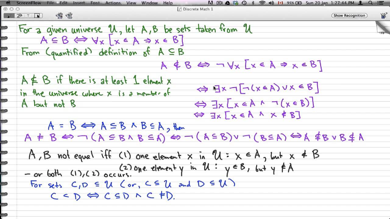 "discrete math 1 - tutorial 50 - sets and subsets, ""not"" subsets"
