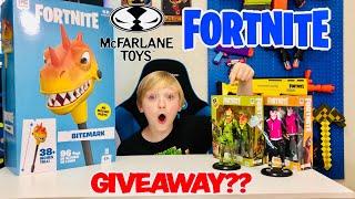 MCFARLANE SENT ME FREE FORTNITE TOYS!!! Bitemark Harvesting Tool/ Rex & Drift / GIVEAWAY??