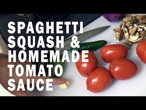 Don't eat garbage! Eat this! Homemade Spaghetti Squash with Tomato Sauce