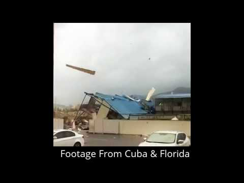 Witness Unlimited Power Of Category 5 Hurricane. High Rise Buildings Blown Away In Florida & Cuba