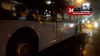 حريق يلتهم حافلة النقل المدينة بالبيضاء