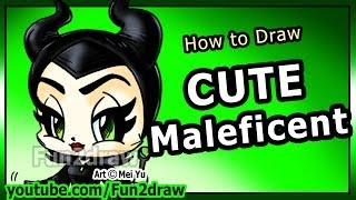 How to Draw Disney Characters - Maleficent Angelina Jolie - Fun2draw Cartoon Art Lesson