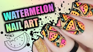 CUTE SUMMER NAIL ART | Watermelon Nail Tutorial using reverse stamping technique