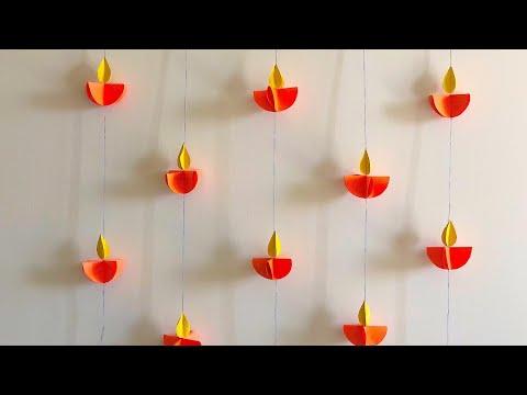 Paper Diya | DIY PAPER DIYA WALL HANGING | easy Diwali decor ideas | home decor ideas | Craft Ideas