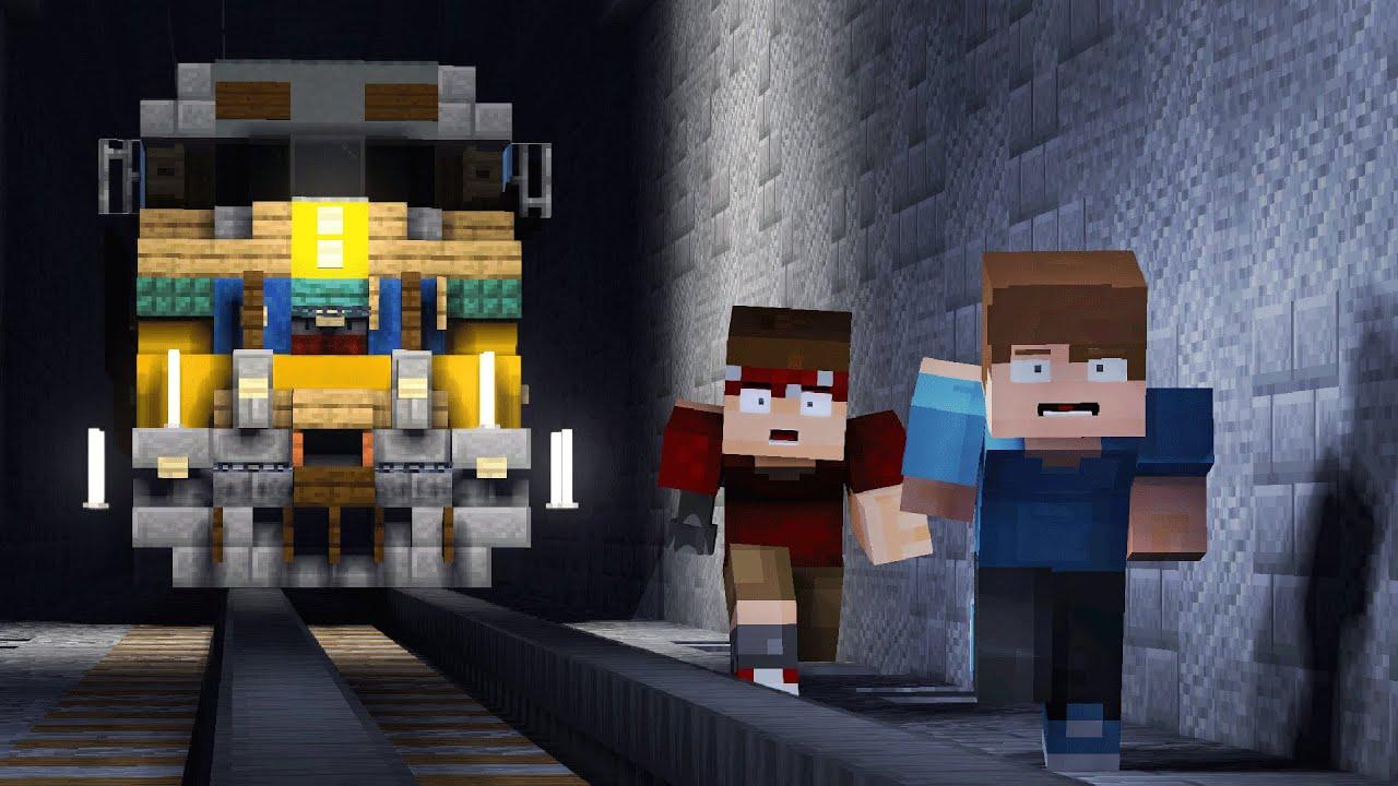 Minecraft Train Comes Inside Tunnel Animation