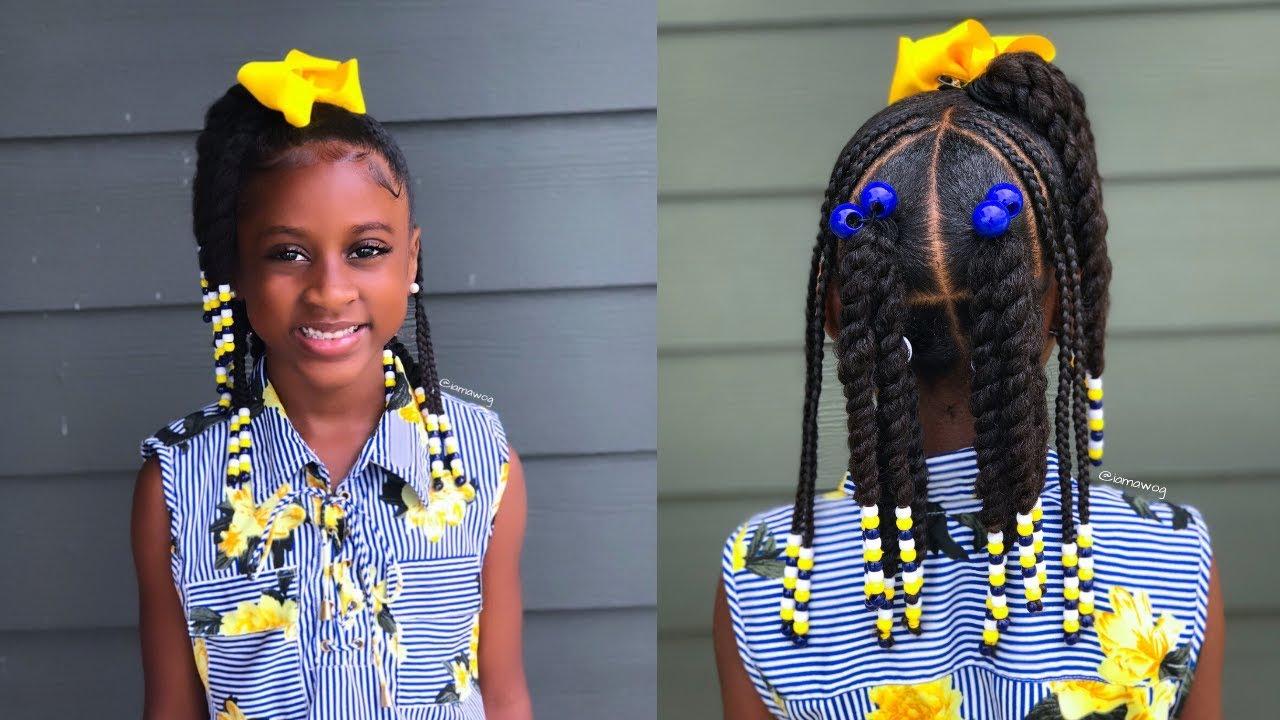 twist, braids & beads | kids natural hairstyle | iamawog