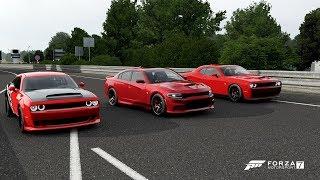 Forza 7 Drag race: Dodge Demon vs Dodge Challenger SRT Hellcat vs Dodge Charger SRT Hellcat