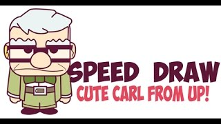 Speed Drawing Carl from Up Cute Easy - Quick Drawing Chibi Old Man from Disney Pixar
