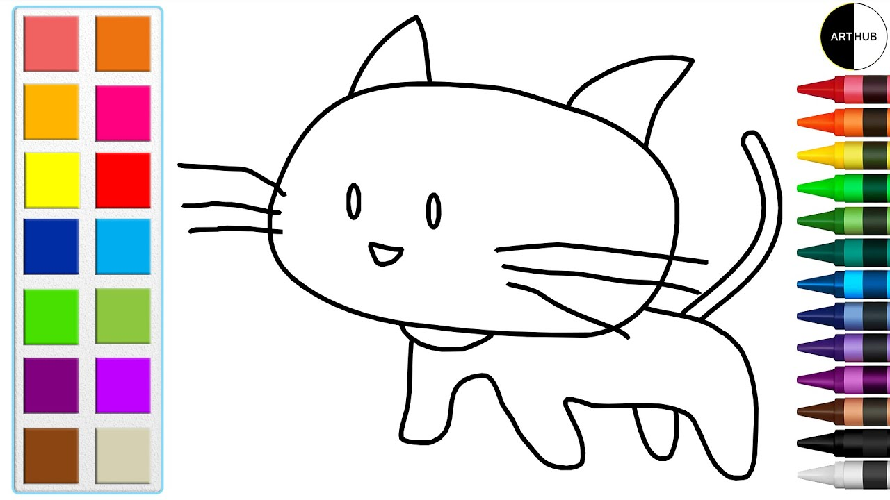 How To Draw And Color Cat