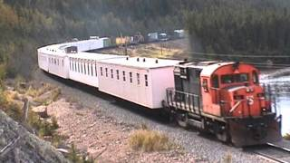 Strange looking railroad work equipment pulled by Cartier RS18 #63... 9/17/2000