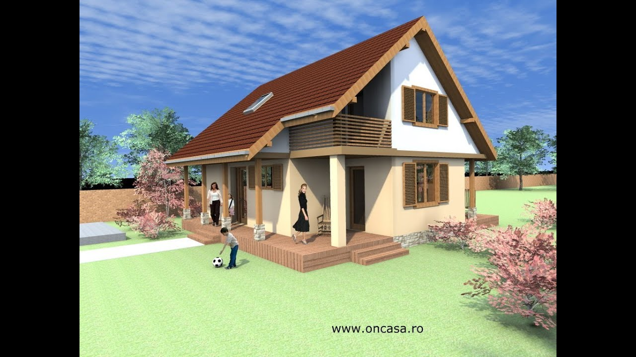 Proiect Casa Chizatau Judetul Timis. Casa Parter Si Mansarda Www.oncasa.ro  Casa B27   YouTube