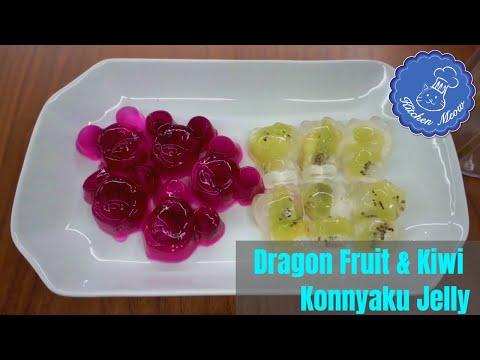 Delicious Healthy Desserts: Dragon Fruit & Kiwi Konnyaku Jelly