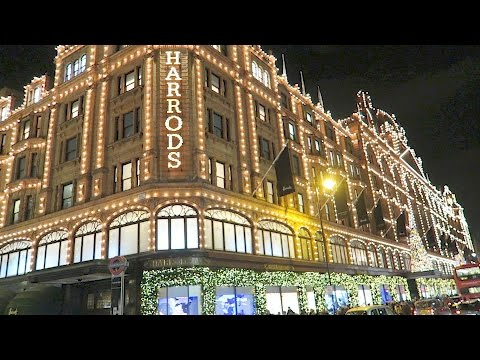 Harrods Christmas Shop Windows lights London Luxury Shopping