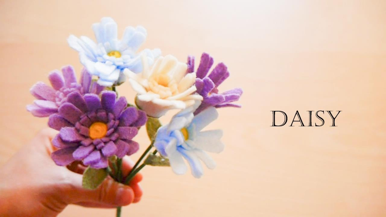 How To Make Felt Flowers Daisy Easy Youtube