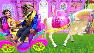 Beauty and The Beast dolls Belle Makeup and Dress Up with Ride On Horse Carriage One Morning