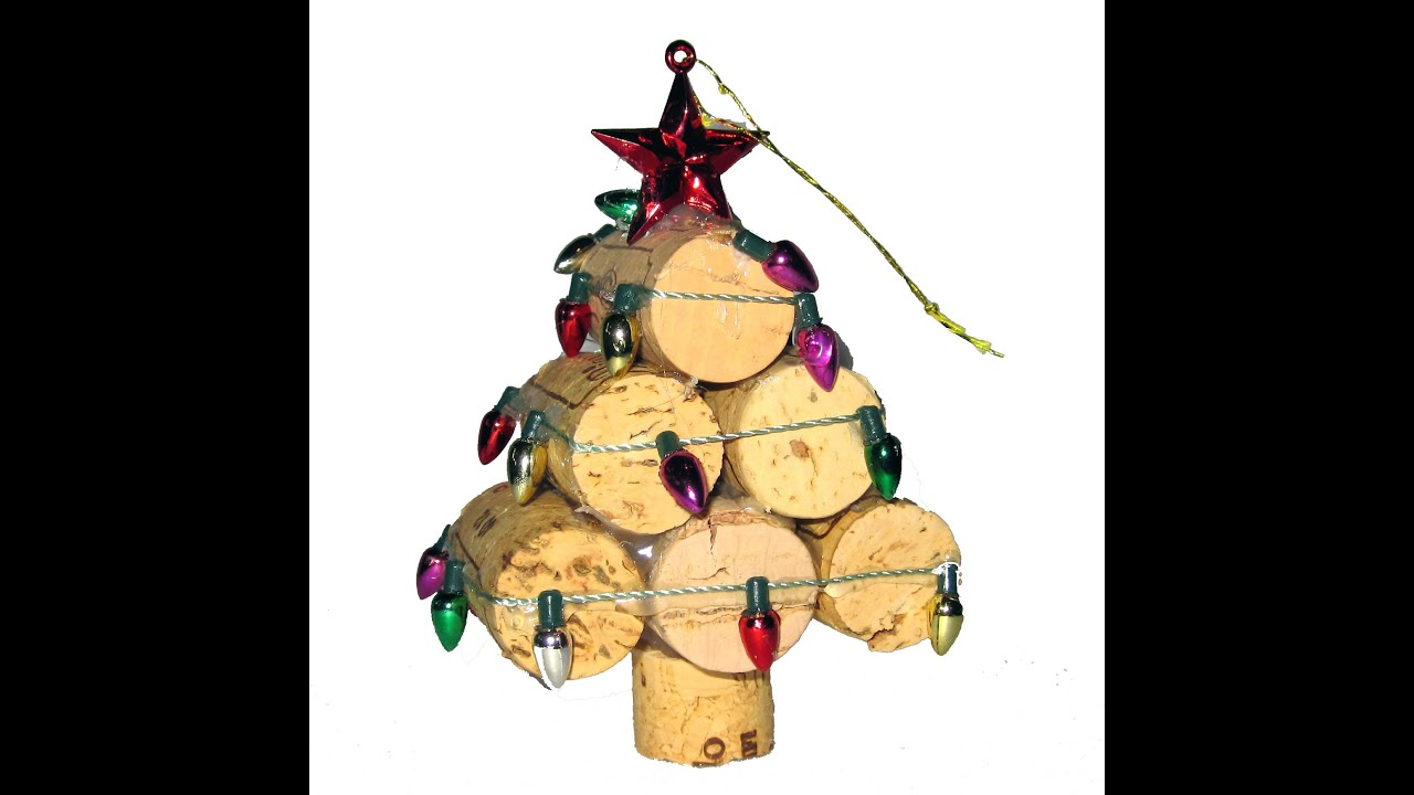 recycled wine cork mini christmas tree ornament youtube - Mini Christmas Tree Ornaments
