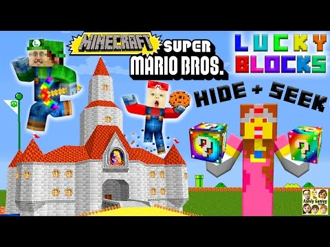 MARIO, LUIGI & PRINCESS PEACH play MINECRAFT!  Lucky Block Hide & Seek FGTEEV Challenge!