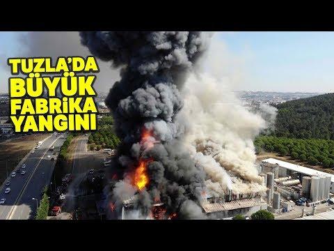 Tuzla'daki Fabrika Alev Alev Yanıyor! O Anlar Ahavadan Görüntülendi