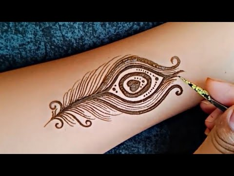 Simple Peacock Feather Tattoo By Using Henna Artistic Peacock Feather Tattoo By Mehndi Youtube