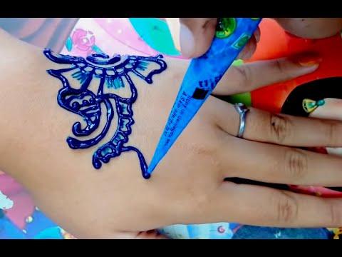 ᴴᴰ Easy Diy Beautiful Henna Blue Colour Design Tutorial Jasa Hena Indo