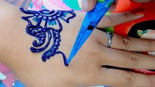 ᴴᴰ Easy DIY: Beautiful Henna blue colour Design Tutorial (jasa hena indo)