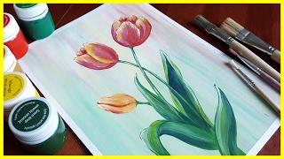 🎨Рисуем тюльпаны гуашью для начинающих!